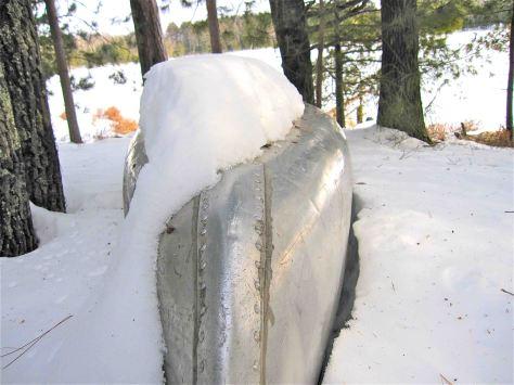 snow bound canoe