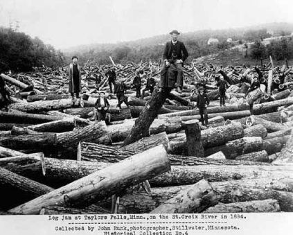 Historic photo of logjam in Taylors Falls, 1884